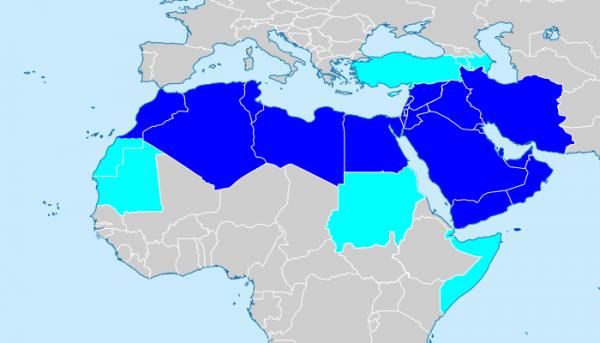 중동-북아메리카 지역 지도