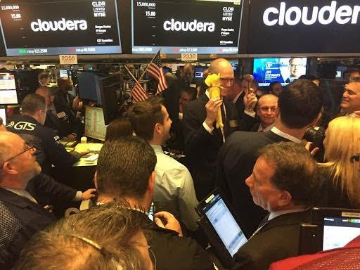 Doug Cutting, chief architect at Cloudera, appears at the New York Stock Exchange on Friday to celebrate the Palo Alto-based software company's initial public offering. (Courtesy of Cloudera)