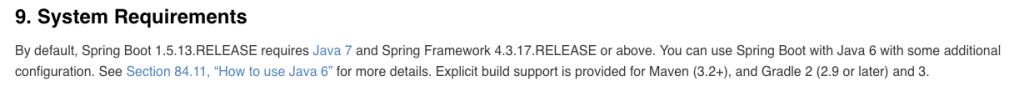 스프링 부트 1.5 System Requirements 출처 : https://docs.spring.io/spring-boot/docs/1.5.13.RELEASE/reference/htmlsingle/#getting-started-system-requirements