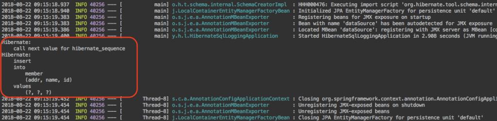 그림. spring.jpa.properties.hibernate.format_sql=true 설정 후 애플리케이션 로그